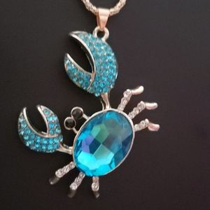 NWT Crystal Blue crab necklace by Betsey Johnson